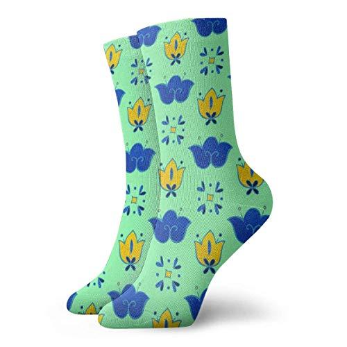 sam-shop Calcetines de vestir unisex Calcetines de cuello redondo de poliéster divertido floral amarillo azul