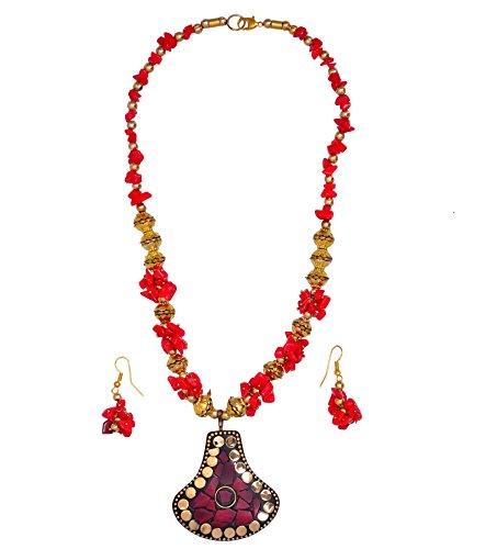 purpledip, set met glazen kralen & rood gouden stenen Anh?nger messing; uniek traditioneel dragen ontwerp (30090)
