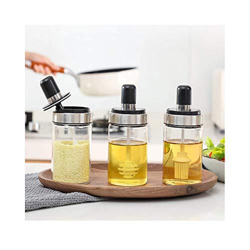 Kruiderij Potjes Kruidenpotjes Set van 3 Kruiden Kruiden Fles met Lepels, Pot met Honingpot met Druppelaars, Oliefles met Borstel en Deksels, voor Thuis/Keuken/Aanrecht