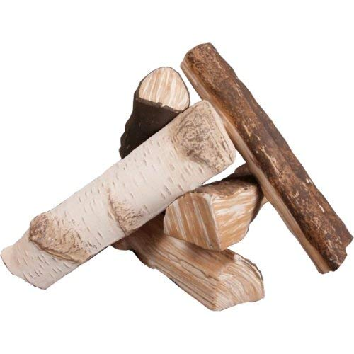 Premium Keramikholz Birke Holz Deko Gelkamin Bio-Ethanolkamin Wandkamin 5 tlg.