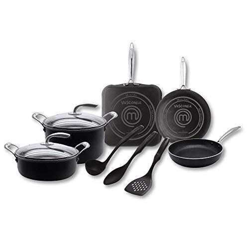 MasterChef 4036305 Bateria de Cocina Vasconia de 2.5 mm, Negro, 10 piezas