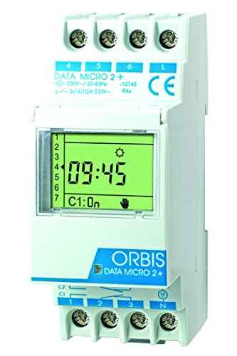 Orbis Data Micro-2 Plus 230 V Interruptor horario Digital de Distribuidor, OB171912N