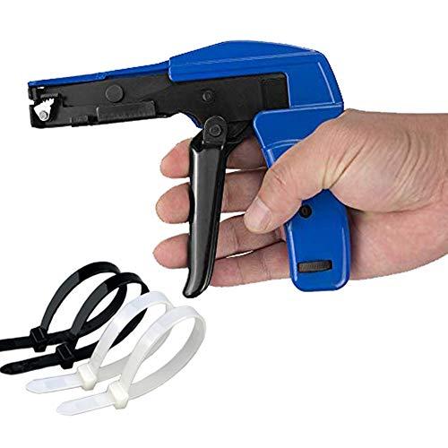 Kabelbinderpistole, Dechengbao Professional Zip Tie Gun - Kabelbinderbefestigung und abgeschnittene Kabelbinderpistole, Installieren und Schneiden von Kunststoff-Nylonbändern Druckguss-Stahlspülung