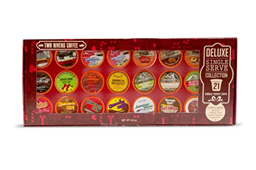 Two Rivers Coffee, Tea & Hot Chocolate Pods, Deluxe Christmas Gift Box for Keurig K Cup Makers, 21Count