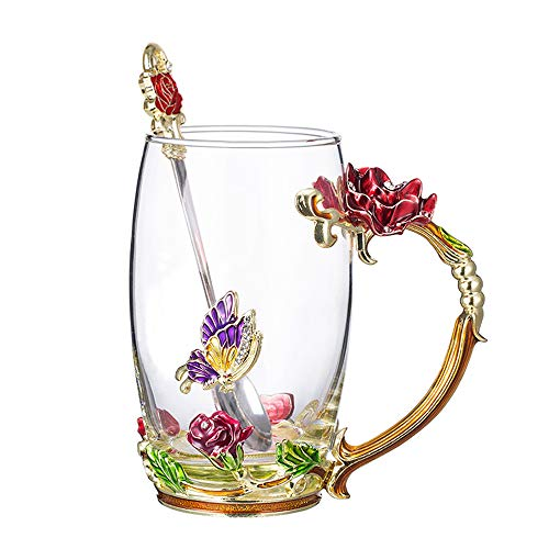 COAWG Flower Glass Tea Mug with Spoon, 12OZ Red Flower...