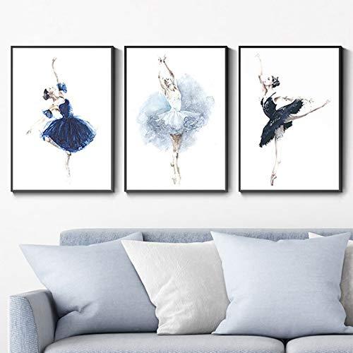 Wfmhra La Chica del Ballet Que asegura la Vida Póster Arte de la Pared Impresión en Lienzo Pintura de Acuarela Imagen Regalo Decoración del hogar 50x70cm Sin Marco