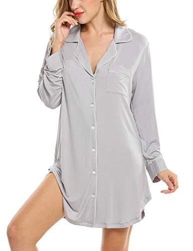 Damen Nachthemd Pyjama Negligee V-Ausschcnitt Nachtkleid Schlafshirt Langarm Modal Schlafanzüge Nachtwäsche Sleepwear Kleid, Langarm 1: Grau, S