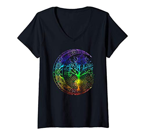 Womens Mandala Moon Chakra Árbol de la vida Camiseta Mujer Cuello V