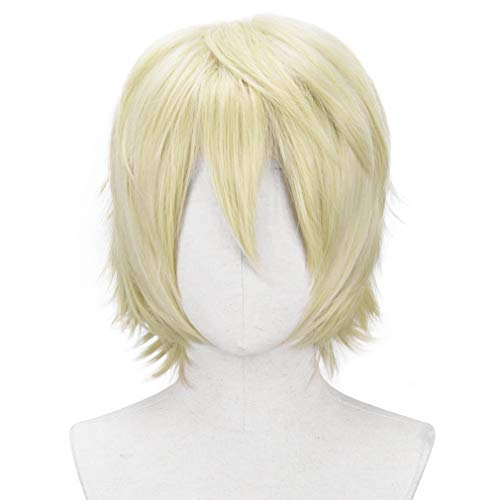 YOGFIT Aaron Men's Short Straight Prince Blonde Wigs for Anime Spiky Cosplay Halloween Costume Party