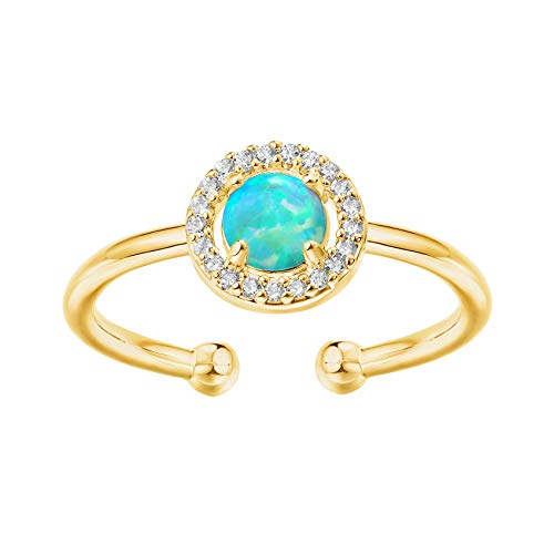 PAVOI Anillo de ópalo chapado en oro de 14 quilates, ajustable, anillo de oro para mujer