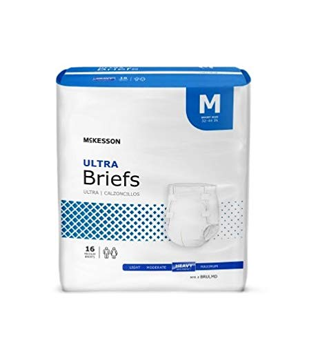 Adult Disposable Ultra Brief Diaper, Medium, Heavy Absorbency, Tab Closure, McKesson BRULMD - Case of 96