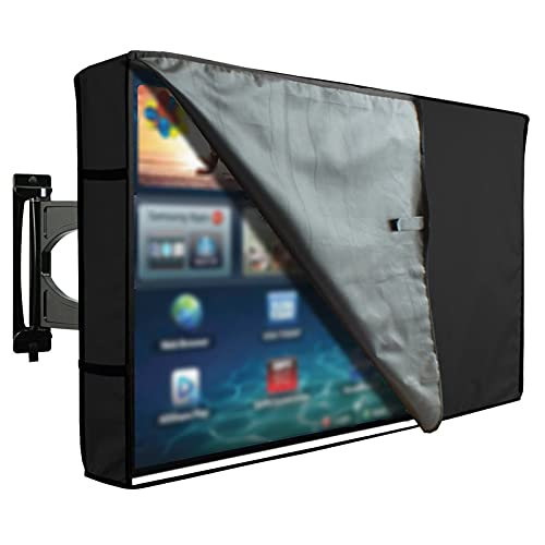 "AWSAD Funda Cubierta Protectora Exterior para Pantalla Plana Monitor TV LCD de 22-65"" Cubierta para TV Impermeable Universal Protector de Pantalla para Exterior (Color : Negro, Size : 60-65"")"
