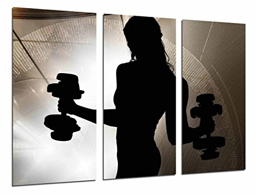 Cuadros Camara Poster Fotográfico Motivacion fitness, mujer con pesas Tamaño total: 97 x 62 cm XXL