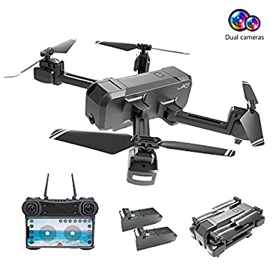 Drones with Camera for Adults 1080P, EMISK WiFi FPV Quadcopter Drone with Dual Cameras, RC Foldable Drones with HD Camera for Beginner, Altitude Hold, Follow Me, One Key Take Off/Landing, APP Control