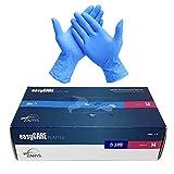 EasyCare - Guantes De Nitrilo Desechables, Color Azul, Antivirus, Sin Polvo, Caja de 100 Unidades, Talla M (Medium)