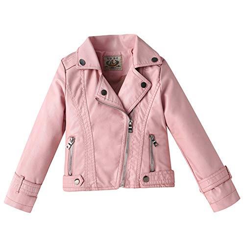 LPATTERN Enfant Garçon Fille Jacket Veste en Similicuir Printemps Automne Blouson Motard Perfecto en Imitation Cuir Rose 130/7-8 Ans