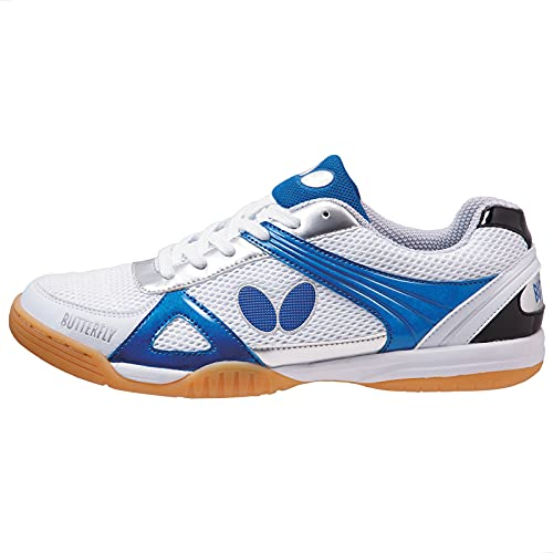 Butterfly Lezoline Trynex Table Tennis Shoes with Superior Grip - Stylish Shoes for Ping Pong - White & Blue or White & Red Shoes – Men or Women Sneakers, 34