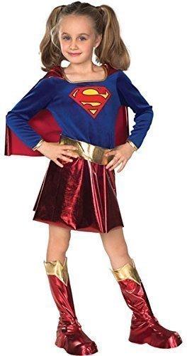 Licence Officielle De Luxe Filles Supergirl Superwoman Super héros Journée Mondiale du Livre Semaine Halloween Déguisement Costume Tenue Ages 3-10 an - Bleu/Rouge, 8-10 Years