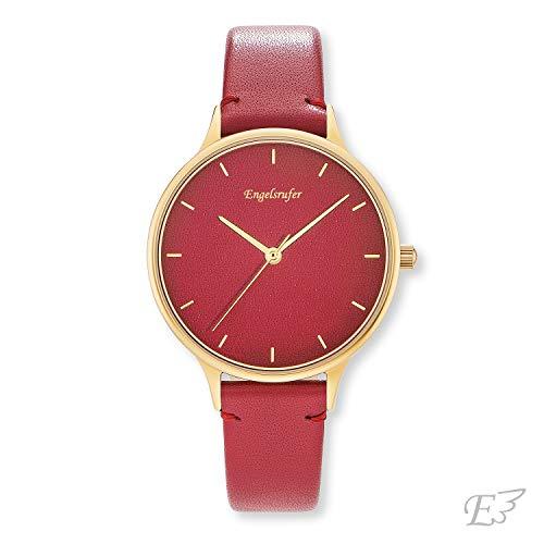 Engelsrufer - Damen Uhr mit Lederarmband in rot, Edelstahl goldfarbene Damenuhr mit rotem Ziffernblatt und Lederband, rote analoge Damenarmbanduhr, elegante Schmuck Uhren
