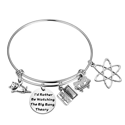 TGBJE Big Bang Theory Inspired Gift I'd Rather Be Watching The Big Bang Theory Bracelet Atom Jewelry Gift for Scientist (Big Bang BR)