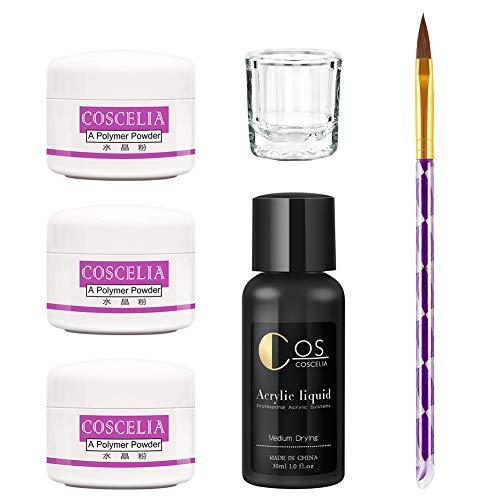 COSCELIA Kit para Uñas Acrilicas Completo Decoración Uñas Acrilicas Porcelana para Uñas Kit Blanco Rosa Transparente