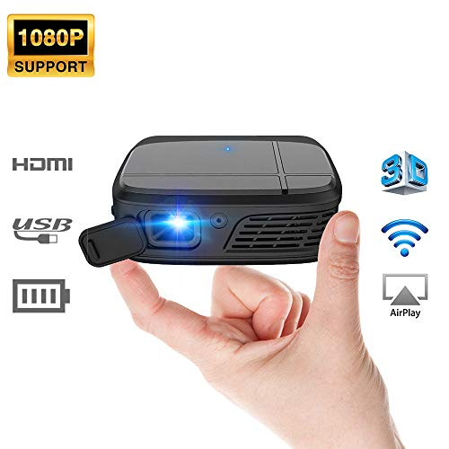 Mini Projector, 1080P Supported DLP WiFi Projector with 3300 Lux, 3D Display Home Cinema Portable Projector with Built in Battery, Auto Keystone, with Mobile Phone, Laptop, TV Stick, HDMI, USB