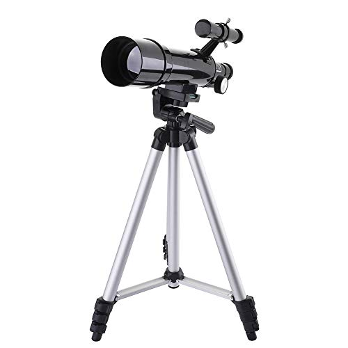 DQQ Refractor Astronomy Telescope for Kids and Beginner Travel Scope with Tripod and Backpack Black 50mm,3X Barlow Lens