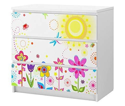 Set Möbelaufkleber für Ikea Kommode MALM 3 Fächer/Schubladen Blume Sonne Schmetterlinge Blumen rot lila Kat2 Kinderzimmer ML3 Aufkleber Möbelfolie sticker (Ohne Möbel) Folie 25B2504