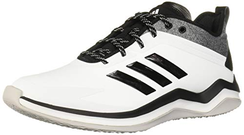 adidas Men's Speed Trainer 4 Baseball Shoe, Crystal White/Black/Carbon, 8.5 M US
