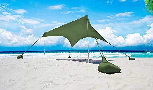 Otentik Nano Parasol para playa o aire libre – Toldo – refugio de playa – toldo de vela – toldo para dos (oliva)
