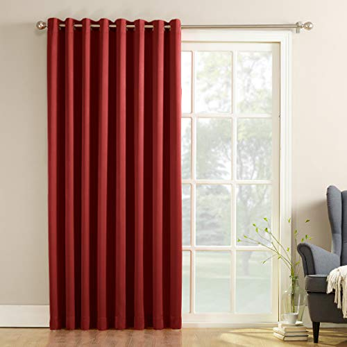 Sun Zero Barrow Extra-Wide Energy Efficient Sliding Patio Door Curtain Panel with Pull Wand, 100