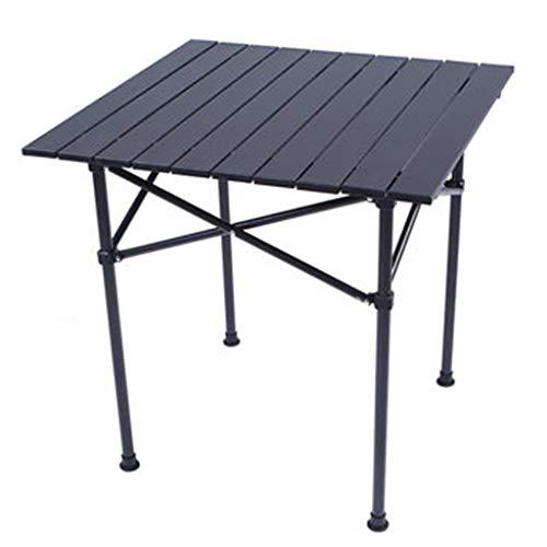 SISIZHANG Tisch-Klapptisch im Freien tragbarer Schreibtisch-Metalltisch Stalle-Werbeausstellungs-Tisch-Licht-Feld-Picknicktisch (Color : Black, Size : 58 * 58 * 58CM)