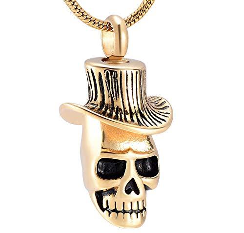 N / D Collar De Cremación Collar de urna de Calavera para Cenizas, medallón Colgante, Recuerdo de Acero Inoxidable, joyería de cremación Conmemorativa para Hombres y Mujeres