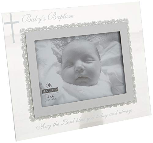 Malden International Designs Babys Baptism Mirrored Glass With Silver Metal Inner Border Picture Frame, 4x6, Silver