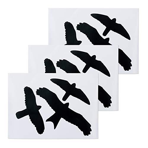 Relaxdays Vogelaufkleber, Warnvögel für Fensterscheiben & Glastüren, Vogel- & Fensterschutz, 9 Aufkleber im Set, schwarz