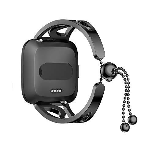 Armband kompatibel Fitbit Versa Lite Edelstahlarmband, Sports Running Ersatzband Perlen Armbänder Uhrenarmband für Fitbit Versa Lite Smartwatch für Damen Geschenk (Schwarz)