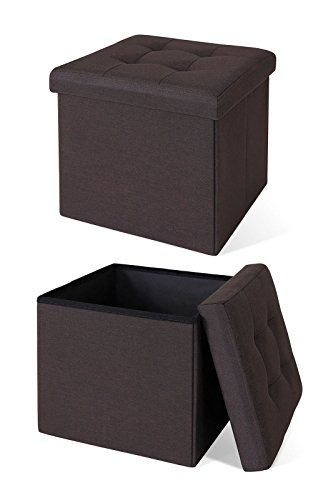 dibea Taburete cofre en lino plegable cubo espacio de almacenamiento 38x38x38 cm Marrón