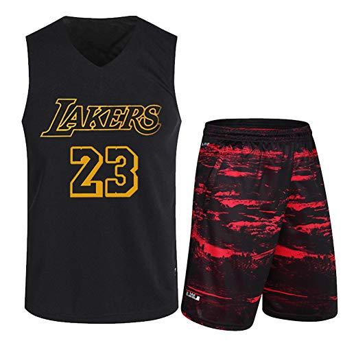 Haoshangzh55 Jerseys De Baloncesto/L.A. Lakers # 23 Lebron James Camuflaje De Pantalones Rojos Traje De Entrenamiento Deportes Y Ocio Fitness Transpirable Chaleco Sin Mangas,3XL