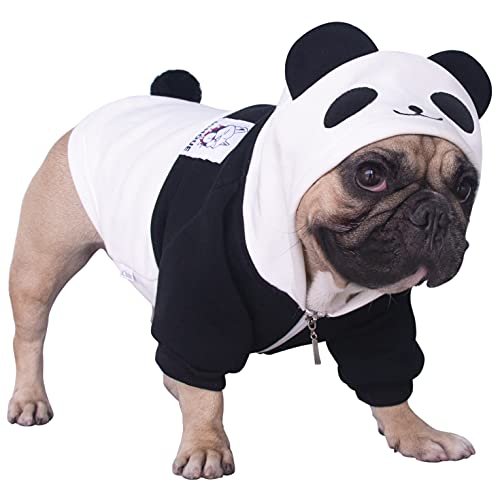 iChoue Panda Dog Halloween Costumes Small Medium Clothes Boy Girl Shirt Sweater Cute Funny for French Bulldog Cold Weather Winter Coats Hoodies Frenchie English Pug Pitbull Corgi Puppy - L