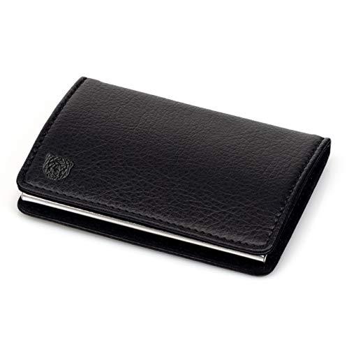 WLDOHO® Business Visitenkarten-Etui I Premium Visitenkartenhalter aus Edelstahl und hochwertigem PU Leder I Kartenetui Card Holder (Solid)