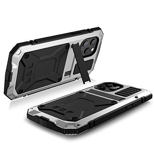 Hainice Impermeable Universal Caja Protectora de la Caja de absorción de Choque con el Soporte Compatible con el iPhone 12/12 Pro Plata Robusto