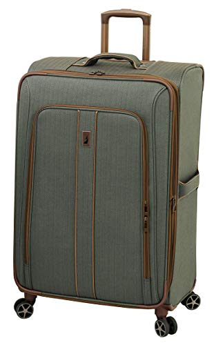 LONDON FOG Newcastle Softside Expandable Spinner Luggage Slate Bronze CheckedLarge 28Inch