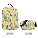 Mochila de tulipanes amarillos desmontables para hombres y mujeres, bolso de viaje, para adolescentes, universidad, casual, hombro