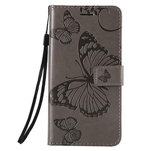 Hülle Kompatible für OPPO Reno 4 Pro 5G Flip Hülle Cover Schmetterling Handytasche PU Leder Etui Tasche Handyhülle Schutzhülle Skin Ständer Klapphülle Schale Bumper Magnet Clip grau