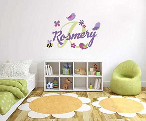 Wall Art Aangepaste naam & initiële mooie lente vlinder vogels en bij - handgemaakte serie - baby meisje - muursticker kinderkamer voor thuis slaapkamer (R okt 52) gemakkelijk aan te brengen