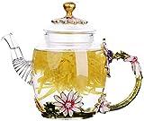 YBK Tech - Tetera de cristal con diseño de flores para té Kung Fun Tea, buen regalo para hermanas, mamá, abuelas, maestros (crisantemo (mango verde))