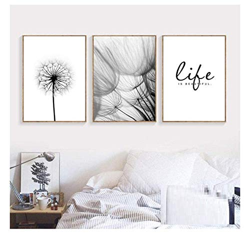 kaxiou Wandbilder, Kunstdruck, Motiv: Liebesworte, Pusteblume/Pusteblume/Poster, Schwarz/Weiß, 50 x 70 cm, 3 Stück