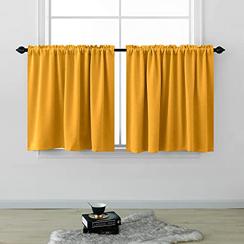 Short Curtains 30 Inches Long for Bathroom Set 2 Panels Rod Pocket Cafe Window Treatment Tier Curtains Blackout Room Darkening Spring Yellow Curtains for Small Windows Kitchen RV 30 Inch Length