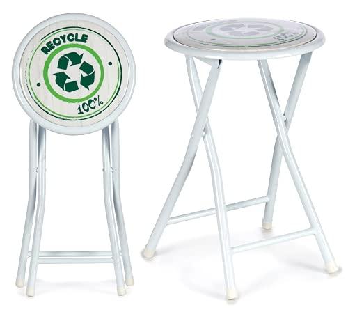 TIENDA EURASIA® Taburete Plegable - Diseños Originales - Estructura Metálica y Asiento Acolchado en PVC Brillo - 30 x 47 x 30 cm (Recycle)