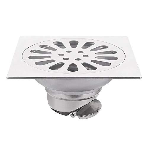 Voixy Bodenablauf für Badezimmer, Küche, Balkon, aus Edelstahl 304, 12 x 12 cm (1366, quadratisch)